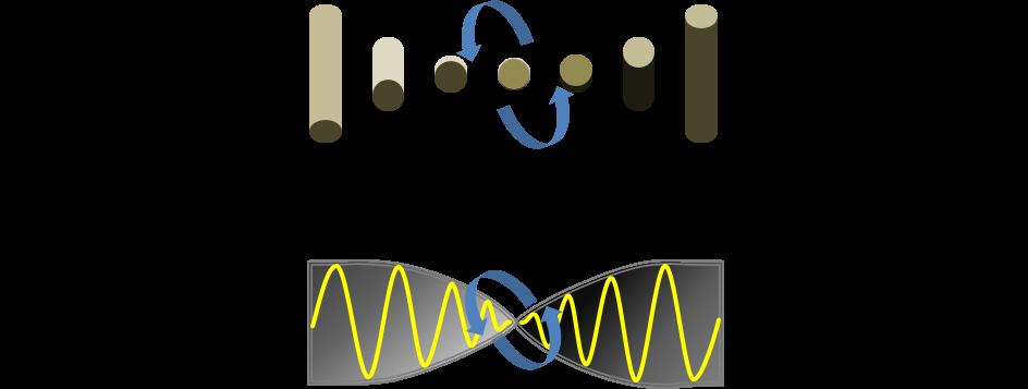 液晶分子と同じ方向に振れる光