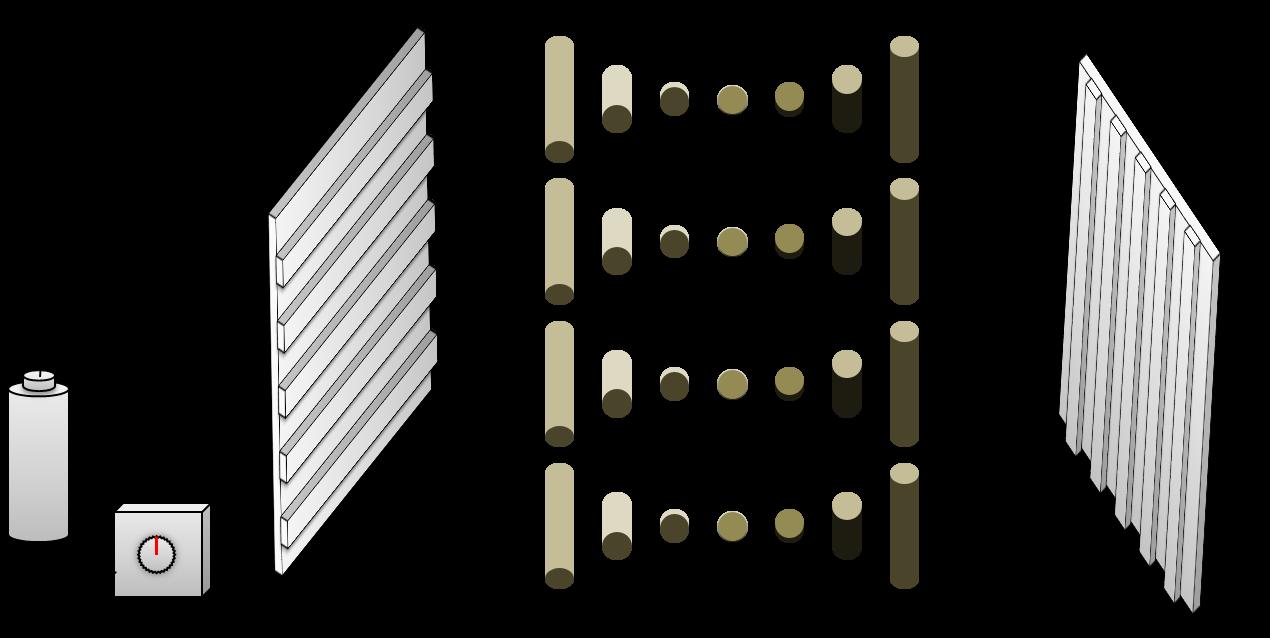 電気を通す前は、液晶分子が配向膜の方向に従って整列している