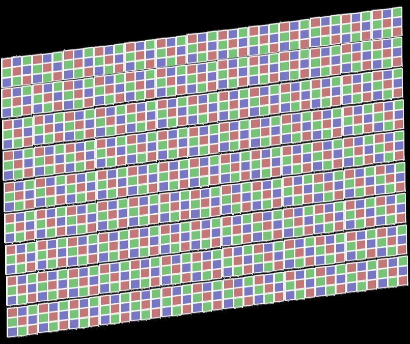 1枚のディスプレイパネルになるように、液晶素子とカラーフィルターで作った画素を縦横に数百~数千個並べる