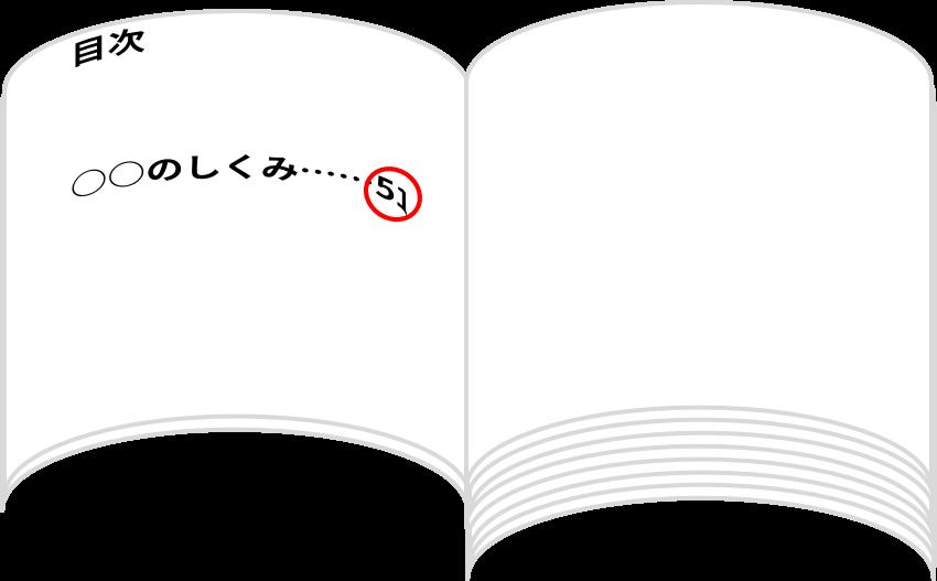 本の目次(○○のしくみは51ページ)